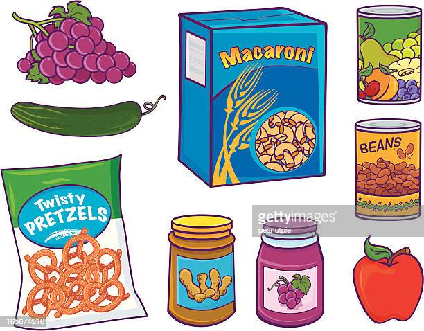 grocery food items - macaroni stock illustrations, clip art, cartoons, & icons