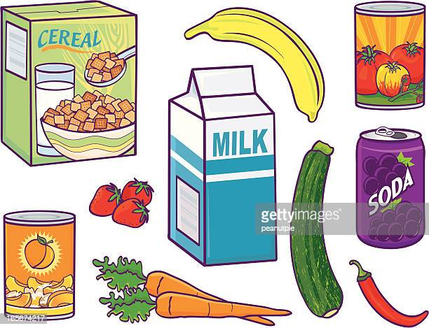 grocery food items - breakfast cereal stock illustrations, clip art, cartoons, & icons