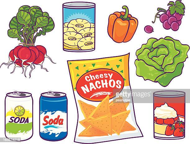 grocery food items - nachos stock illustrations