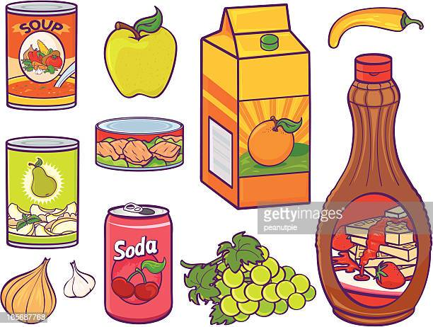 grocery food items - fruit juice stock illustrations, clip art, cartoons, & icons