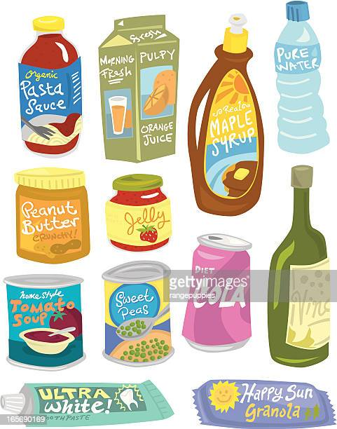 grocery items - maple syrup stock illustrations