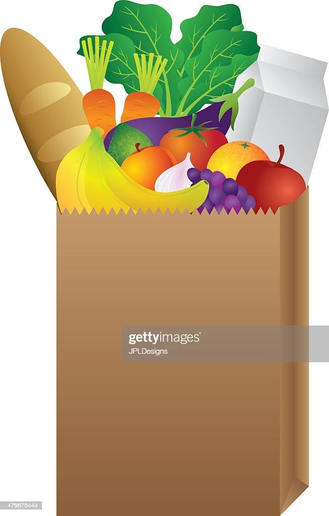 Grocery Paper Bag of Food Vector Illustration