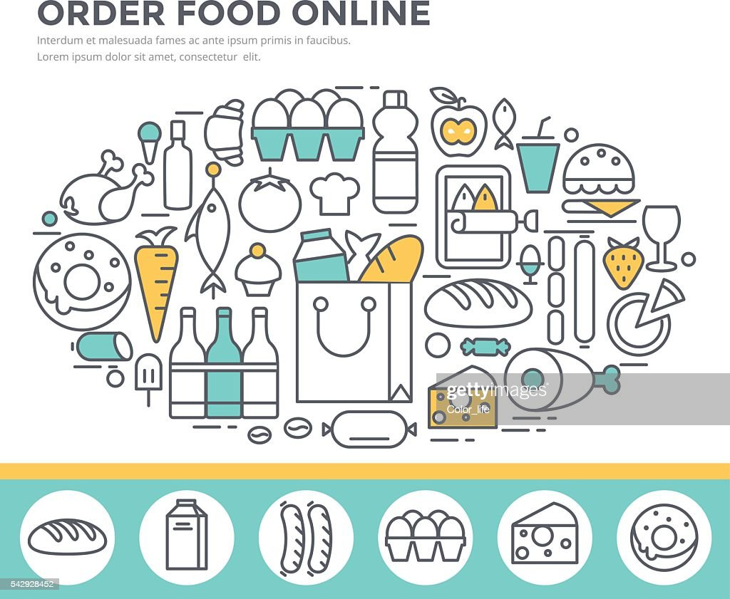 Grocery shopping and food ordering concept illustration.
