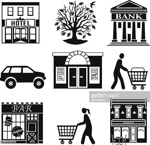 ilustrações de stock, clip art, desenhos animados e ícones de compras de mercearia na cidade - pizzaria