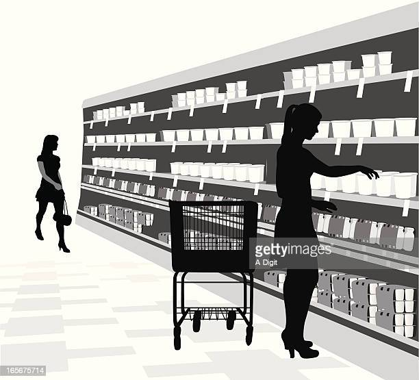 grocery shopping vector silhouette - retail display stock illustrations