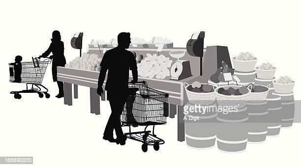 groceryshopping - handwagen stock-grafiken, -clipart, -cartoons und -symbole