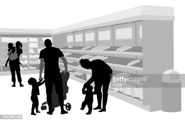 grocery shopping with young kids - back lit stock illustrations