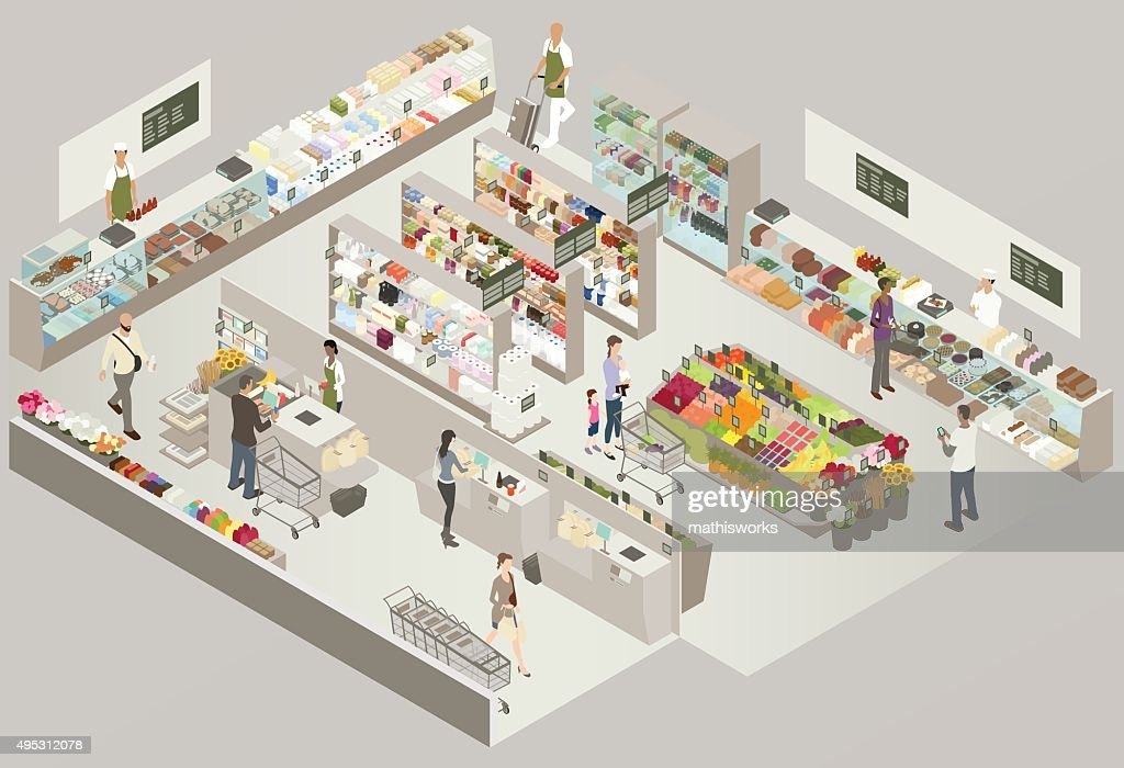 Grocery Store Cutaway Illustration : stock illustration
