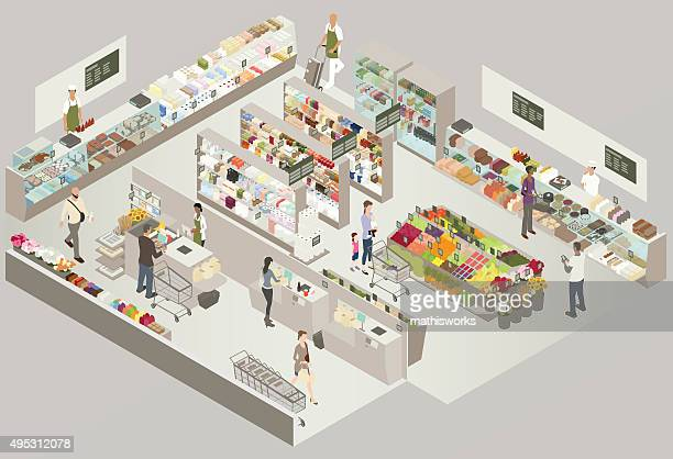grocery store cutaway illustration - mathisworks business stock illustrations