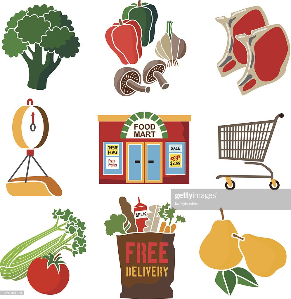 Grocery Store Icon Set Vector Art | Getty Images