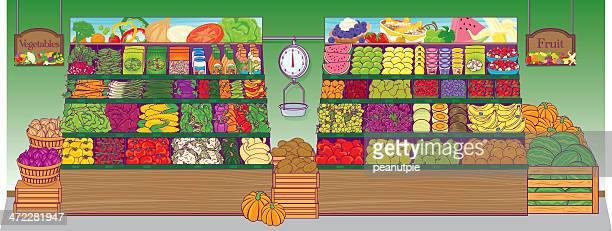 grocery store produce - cauliflower stock illustrations, clip art, cartoons, & icons
