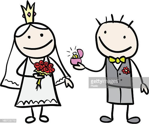 Marié donnant Bague en diamant pour la mariée