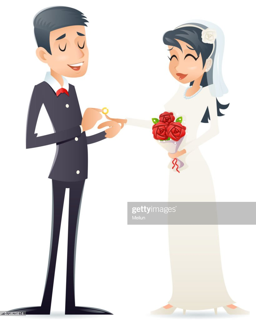 Groom Holds Cute Bride On Arms Vintage Happy Smiling Male Female