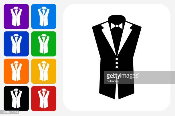 Bräutigam Anzug Symbol Square Buttonset