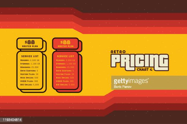 groovy 70's service list and pricing table on retro background wallpaper for promotion or sale - funky stock illustrations
