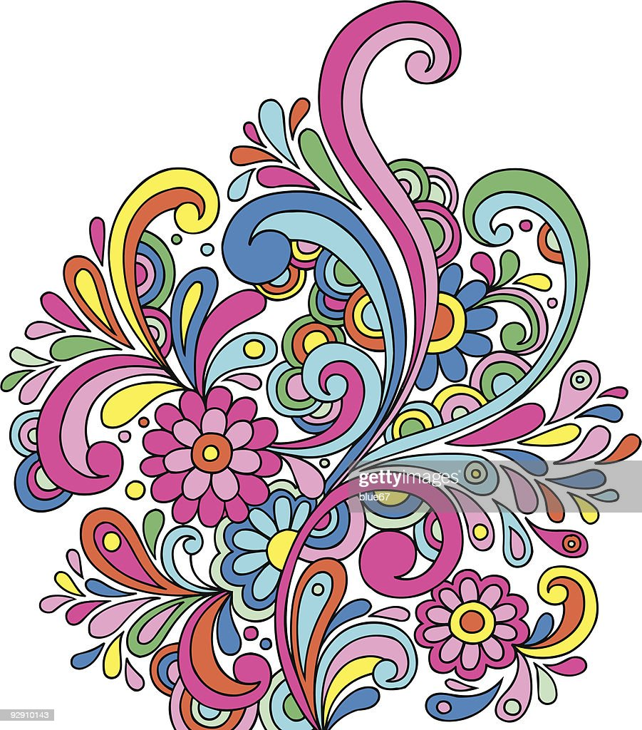 Groovy Psychedelic Abstract Paisley Doodle