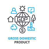 gross domestic product concept , outline icon, linear sign, line pictogram, , flat illustration, vector