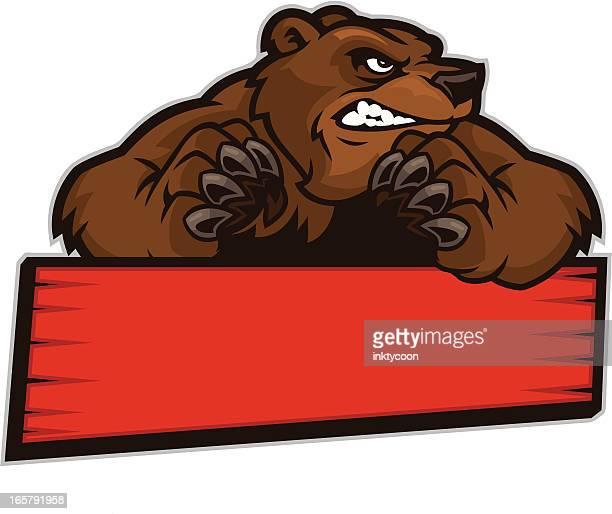 ilustraciones, imágenes clip art, dibujos animados e iconos de stock de oso señal - oso pardo