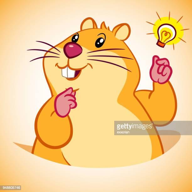 illustrations, cliparts, dessins animés et icônes de marmotte cartoon caractère claquer les doigts - hamster