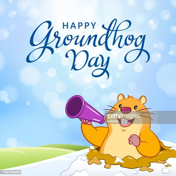 groundhog day announcement - groundhog day stock illustrations