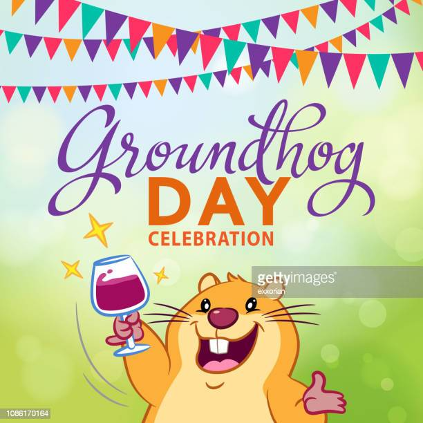 groundhog day celebration - groundhog day stock illustrations