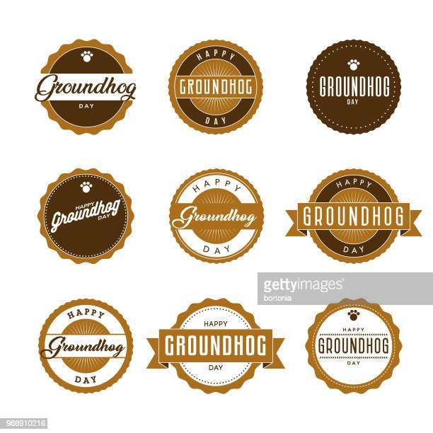 groundhog day icon set - groundhog day stock illustrations
