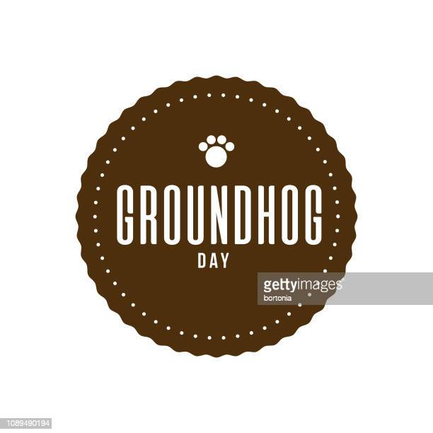 groundhog day label - groundhog day stock illustrations