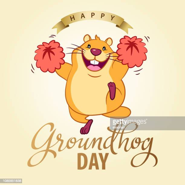 groundhog day party invitation - groundhog day stock illustrations
