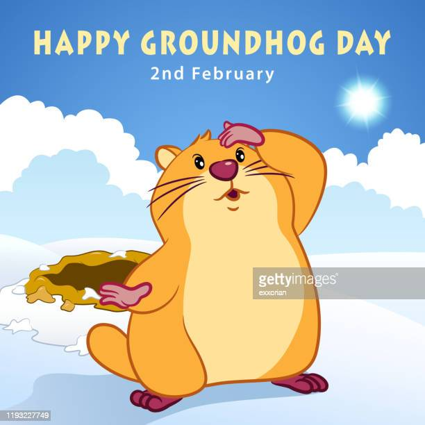 groundhog day prediction - groundhog day stock illustrations