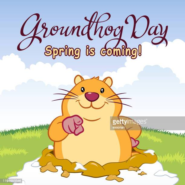 groundhog day spring is coming - groundhog day stock illustrations