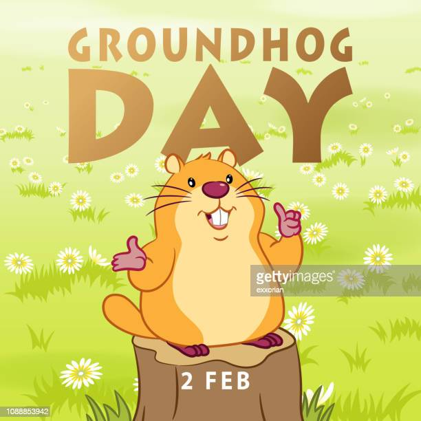 groundhog day welcome spring - groundhog day stock illustrations