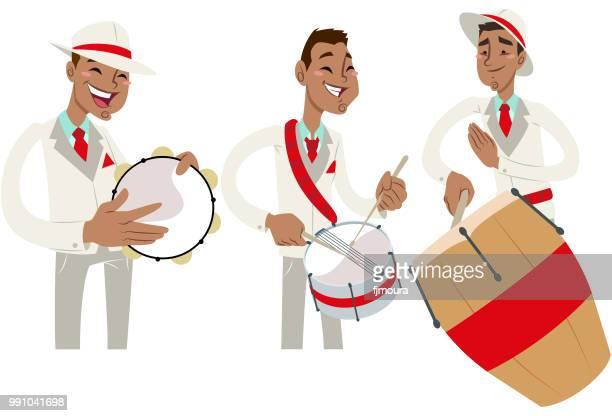 ilustrações de stock, clip art, desenhos animados e ícones de group and icons of samba - pandeiro