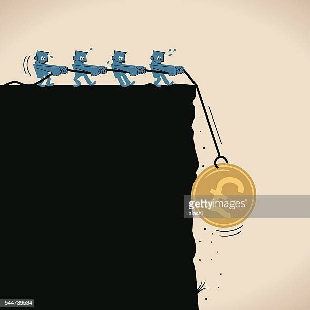 group businessmen pulling gold pound coin on rope over cliff - crag stock illustrations, clip art, cartoons, & icons