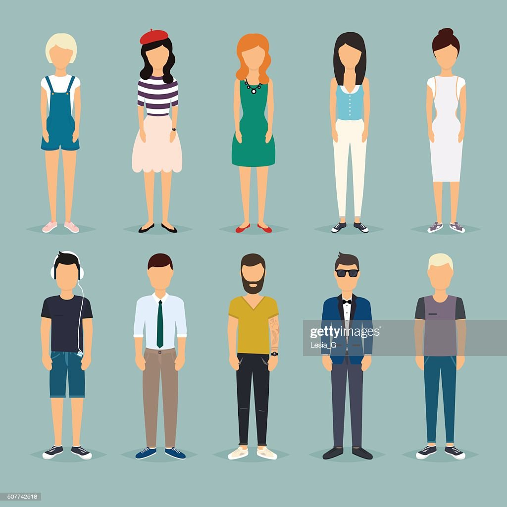 Group cartoon people. Social Network and Social Media Concept. B