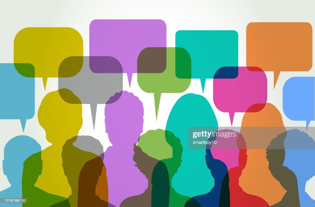 Group Discussion with Speech Balloons : Stock Illustration