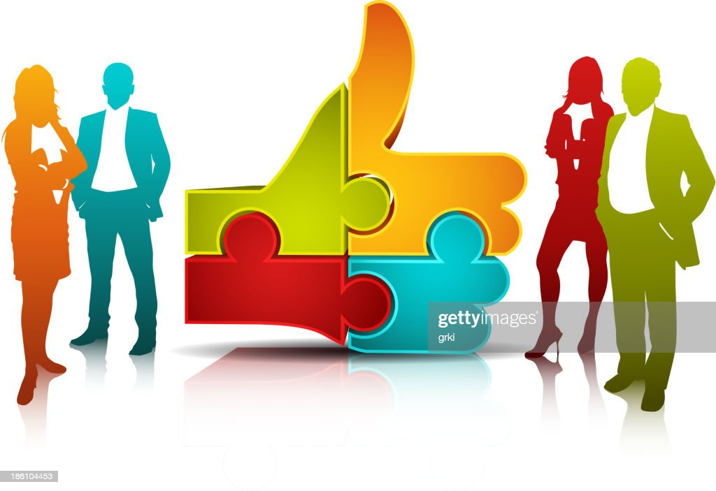 Group Graphic Of Office People And Icon Of Puzzle Pieces stock