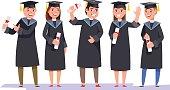 Group happy graduates with diplomas on graduation ceremony
