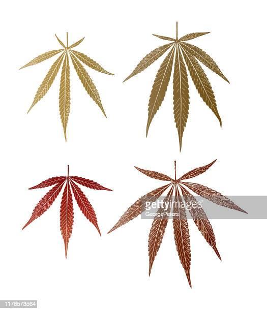 group of 4 cannabis leaves - marijuana leaf stock illustrations