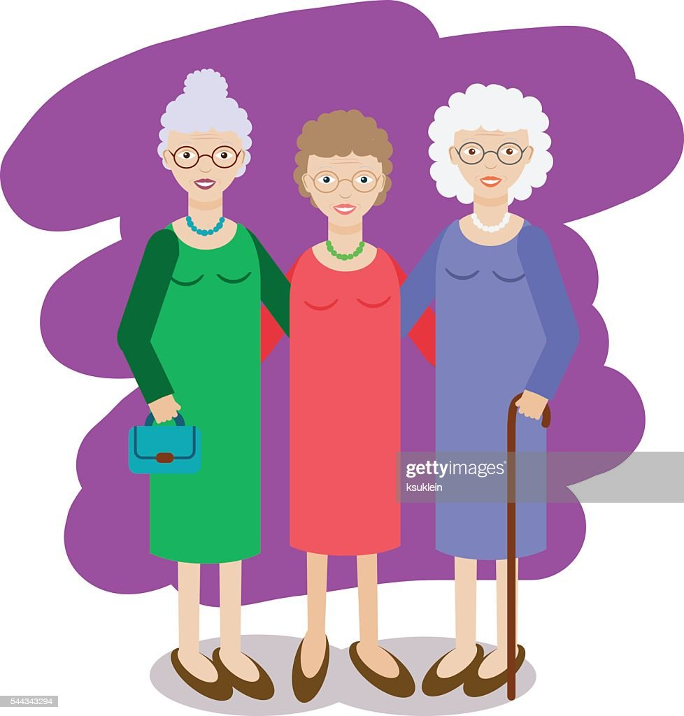 Group of aged ladies. Three old women, grandmothers