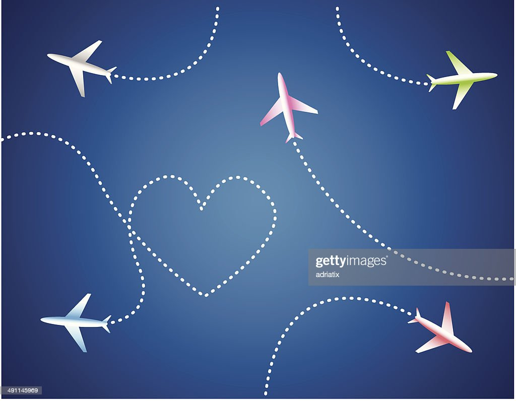 Group of airplanes and heart