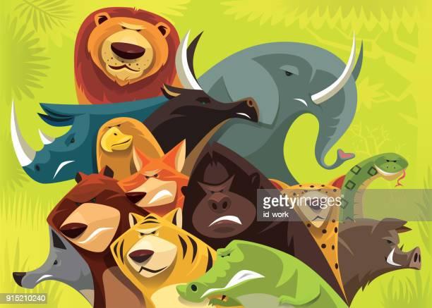 ilustraciones, imágenes clip art, dibujos animados e iconos de stock de grupo de furiosos animales salvajes reunión - fauna silvestre
