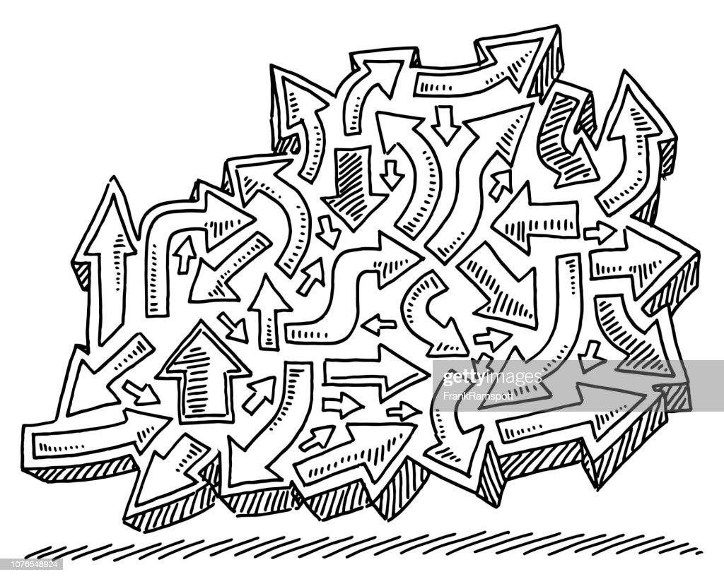 Gruppe von Pfeilen Symbole Zeichnung : Vektorgrafik