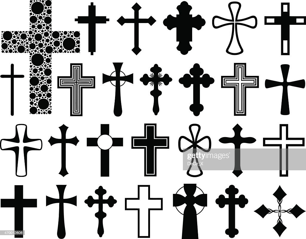 A group of black and white outlines of crosses