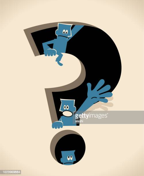 group of blue man inside of a big question mark hole - asking stock illustrations