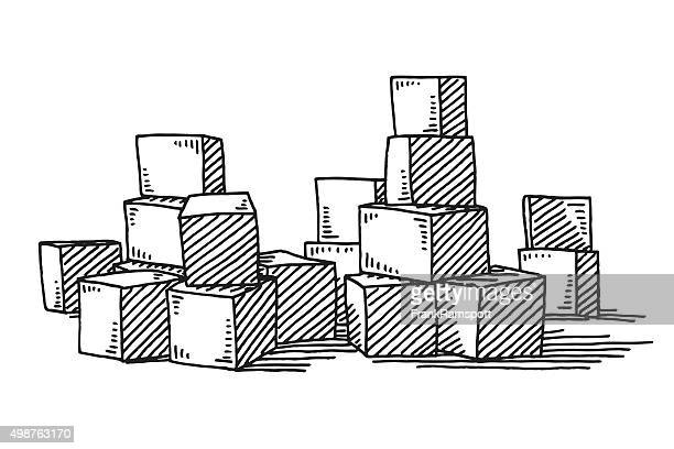 group of building blocks drawing - building block stock illustrations