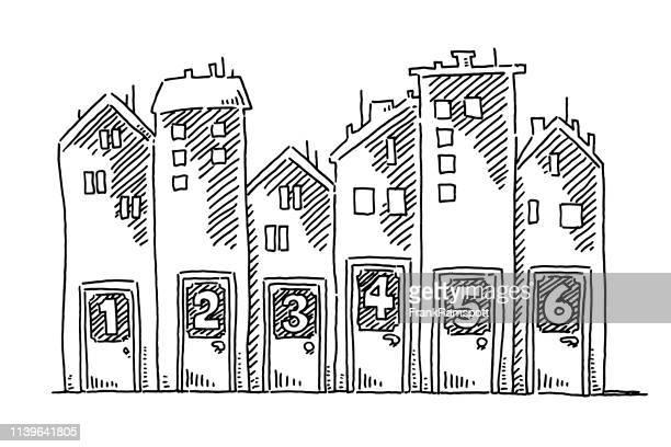 Gruppe der Bauhaus-Türnummern zieht