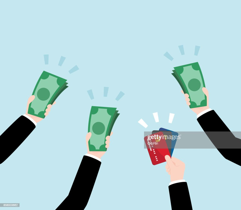 Group of Business Hand Holding Money and Credit Card