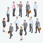 Group of business human isometric design.