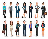 Group of business men and business women characters working in office. Isolated on white background