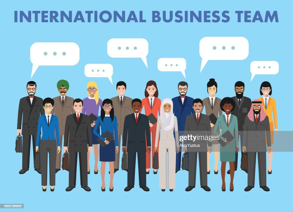 Group of business men and women standing together and speech bubble in flat style. Business team and teamwork concept. Different nationalities and dress styles. Flat design people characters